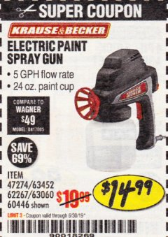 Harbor Freight Coupon 24 OZ. ELECTRIC PAINT SPRAY GUN Lot No. 60446/62267/63452/63060 Expired: 6/30/19 - $14.99