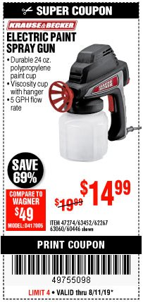 Harbor Freight Coupon 24 OZ. ELECTRIC PAINT SPRAY GUN Lot No. 60446/62267/63452/63060 Expired: 8/11/19 - $14.99