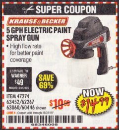 Harbor Freight Coupon 24 OZ. ELECTRIC PAINT SPRAY GUN Lot No. 60446/62267/63452/63060 Expired: 10/31/19 - $14.99