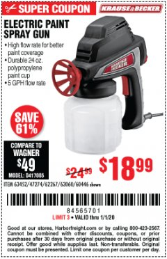 Harbor Freight Coupon 24 OZ. ELECTRIC PAINT SPRAY GUN Lot No. 60446/62267/63452/63060 Expired: 1/1/20 - $18.99