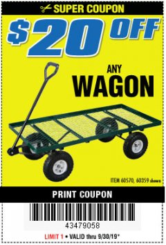 Harbor Freight PERCENT Coupon $10 OFF ANY BAUER OUTDOOR TOOL Lot No. 64941,64996,64995,64940,64942 Expired: 9/30/19 - $0