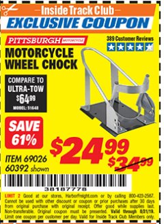 Harbor Freight ITC Coupon MOTORCYCLE WHEEL CHOCK Lot No. 69026/60392 Expired: 8/31/19 - $24.99