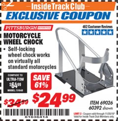 Harbor Freight ITC Coupon MOTORCYCLE WHEEL CHOCK Lot No. 69026/60392 Expired: 11/30/19 - $24.99