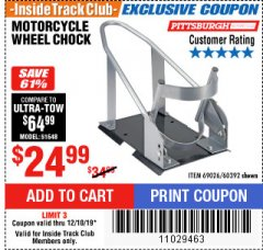 Harbor Freight ITC Coupon MOTORCYCLE WHEEL CHOCK Lot No. 69026/60392 Valid Thru: 12/18/19 - $24.99