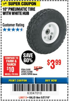 "Harbor Freight Coupon 10"" PNEUMATIC TIRE HaulMaster Lot No. 30900/62388/62409/62698/69385 Expired: 5/27/18 - $3.99"