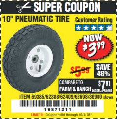 "Harbor Freight Coupon 10"" PNEUMATIC TIRE HaulMaster Lot No. 30900/62388/62409/62698/69385 Expired: 10/1/18 - $3.99"