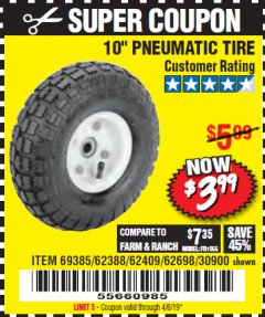"Harbor Freight Coupon 10"" PNEUMATIC TIRE HaulMaster Lot No. 30900/62388/62409/62698/69385 Expired: 4/6/19 - $3.99"
