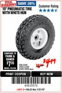 "Harbor Freight Coupon 10"" PNEUMATIC TIRE HaulMaster Lot No. 30900/62388/62409/62698/69385 Expired: 1/31/19 - $4.49"