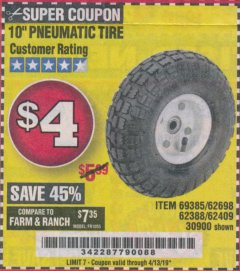 "Harbor Freight Coupon 10"" PNEUMATIC TIRE HaulMaster Lot No. 30900/62388/62409/62698/69385 Expired: 4/13/19 - $4"