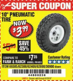 "Harbor Freight Coupon 10"" PNEUMATIC TIRE HaulMaster Lot No. 30900/62388/62409/62698/69385 Expired: 6/15/19 - $3.99"