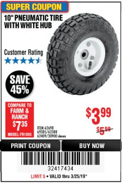 "Harbor Freight Coupon 10"" PNEUMATIC TIRE HaulMaster Lot No. 30900/62388/62409/62698/69385 Expired: 3/24/19 - $3.99"