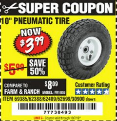 "Harbor Freight Coupon 10"" PNEUMATIC TIRE HaulMaster Lot No. 30900/62388/62409/62698/69385 Expired: 10/1/19 - $3.99"