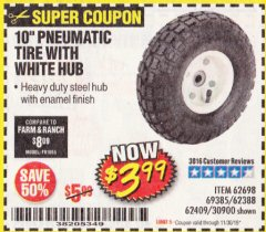 "Harbor Freight Coupon 10"" PNEUMATIC TIRE HaulMaster Lot No. 30900/62388/62409/62698/69385 Expired: 11/30/19 - $3.99"