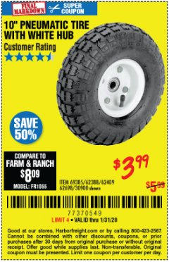 "Harbor Freight Coupon 10"" PNEUMATIC TIRE HaulMaster Lot No. 30900/62388/62409/62698/69385 Expired: 1/31/20 - $3.99"