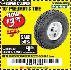 "Harbor Freight Coupon 10"" PNEUMATIC TIRE HaulMaster Lot No. 30900/62388/62409/62698/69385 Expired: 6/30/20 - $3.99"