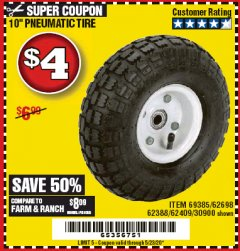 "Harbor Freight Coupon 10"" PNEUMATIC TIRE HaulMaster Lot No. 30900/62388/62409/62698/69385 Expired: 6/30/20 - $4"