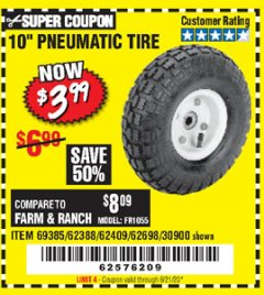 "Harbor Freight Coupon 10"" PNEUMATIC TIRE HaulMaster Lot No. 30900/62388/62409/62698/69385 Expired: 6/21/20 - $3.99"