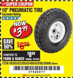 "Harbor Freight Coupon 10"" PNEUMATIC TIRE HaulMaster Lot No. 30900/62388/62409/62698/69385 Expired: 8/19/20 - $3.99"