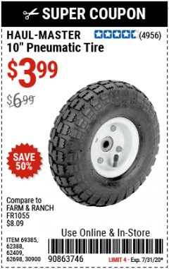 "Harbor Freight Coupon 10"" PNEUMATIC TIRE HaulMaster Lot No. 30900/62388/62409/62698/69385 Expired: 7/31/20 - $3.99"