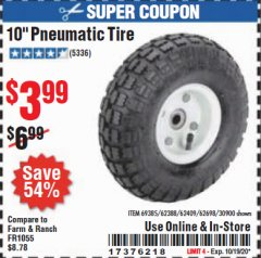 "Harbor Freight Coupon 10"" PNEUMATIC TIRE HaulMaster Lot No. 30900/62388/62409/62698/69385 Expired: 10/19/20 - $3.99"