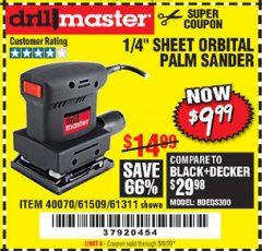 Harbor Freight Coupon ORBITAL HAND SANDER Lot No. 61311/61509/40070 EXPIRES: 6/30/20 - $9.99