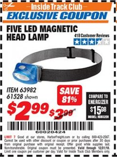 Harbor Freight ITC Coupon FIVE LED MAGNETIC HEAD LAMP Lot No. 61528/93549 Expired: 12/31/18 - $2.99