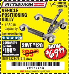 Harbor Freight Coupon VEHICLE POSITIONING WHEEL DOLLY Lot No. 67287/61917/62234 Expired: 12/10/18 - $69.99