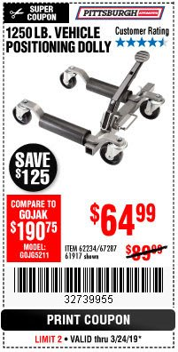 Harbor Freight Coupon VEHICLE POSITIONING WHEEL DOLLY Lot No. 67287/61917/62234 Expired: 3/24/19 - $64.99