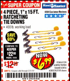 "Harbor Freight Coupon 4 PIECE 1"" X 15 FT. RATCHETING TIE DOWNS Lot No. 90984/60405/61524/62322/63056/63057/63150 Expired: 3/31/20 - $6.99"