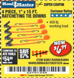 "Harbor Freight Coupon 4 PIECE 1"" X 15 FT. RATCHETING TIE DOWNS Lot No. 90984/60405/61524/62322/63056/63057/63150 Expired: 10/15/18 - $6.99"