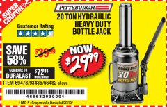 Harbor Freight Coupon 20 TON HYDRAULIC HEAVY DUTY BOTTLE JACK Lot No. 69478/66482 Valid Thru: 4/20/19 - $29.99