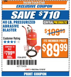 Harbor Freight ITC Coupon 40 LB. PRESSURIZED ABRASIVE BLASTER Lot No. 34202/68992 Expired: 12/18/18 - $89.99