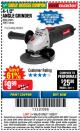 "Harbor Freight Coupon 4-1/2"" ANGLE GRINDER Lot No. 95578/69645/60625 Expired: 11/22/17 - $9.99"
