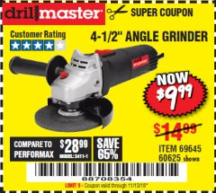 "Harbor Freight Coupon 4-1/2"" ANGLE GRINDER Lot No. 95578/69645/60625 Expired: 11/13/18 - $9.99"