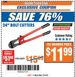 "Harbor Freight ITC Coupon 24"" BOLT CUTTERS Lot No. 60699/41149 Expired: 12/4/18 - $11.99"