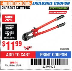 "Harbor Freight ITC Coupon 24"" BOLT CUTTERS Lot No. 60699/41149 Expired: 2/5/19 - $11.99"