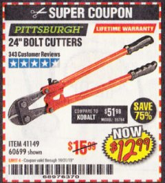 "Harbor Freight Coupon 24"" BOLT CUTTERS Lot No. 60699/41149 Expired: 10/31/19 - $12.99"