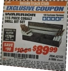 Harbor Freight ITC Coupon 115 PIECE COBALT DRILL BIT SET Lot No. 62152/61886/47653 Expired: 6/30/19 - $89.99