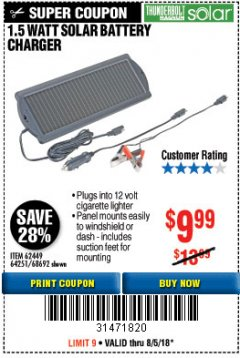 Harbor Freight Coupon 1.5 WATT SOLAR BATTERY CHARGER Lot No. 62449/64251/44768/68692 Expired: 8/15/18 - $9.99