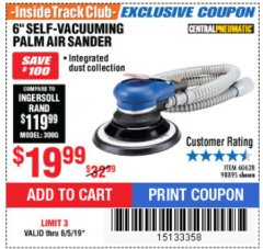 "Harbor Freight ITC Coupon 6"" SELF-VACUUMING AIR PALM SANDER Lot No. 60628/98895 Expired: 6/5/19 - $19.99"