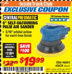 "Harbor Freight ITC Coupon 6"" SELF-VACUUMING AIR PALM SANDER Lot No. 60628/98895 Expired: 10/31/19 - $19.99"