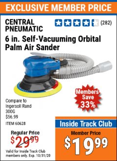 "Harbor Freight ITC Coupon 6"" SELF-VACUUMING AIR PALM SANDER Lot No. 60628/98895 Expired: 10/31/20 - $19.99"
