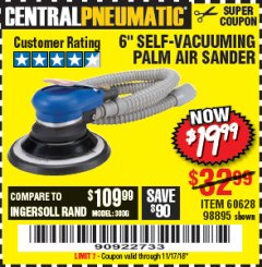 "Harbor Freight Coupon 6"" SELF-VACUUMING AIR PALM SANDER Lot No. 60628/98895 Expired: 11/17/18 - $19.99"
