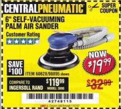"Harbor Freight Coupon 6"" SELF-VACUUMING AIR PALM SANDER Lot No. 60628/98895 Expired: 11/2/19 - $19.99"