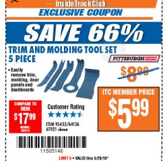 Harbor Freight ITC Coupon 5 PIECE AUTO TRIM AND MOLDING TOOL SET Lot No. 67021/95432 Expired: 5/29/18 - $5.99