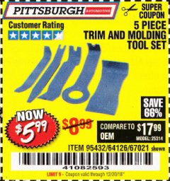 Harbor Freight Coupon 5 PIECE AUTO TRIM AND MOLDING TOOL SET Lot No. 67021/95432 Expired: 12/20/18 - $5.99