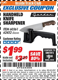 Harbor Freight ITC Coupon HANDHELD KNIFE SHARPENER Lot No. 60361/62452 Expired: 11/30/18 - $1.99