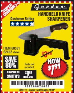 Harbor Freight Coupon HANDHELD KNIFE SHARPENER Lot No. 60361/62452 Expired: 2/16/19 - $1.99