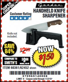 Harbor Freight Coupon HANDHELD KNIFE SHARPENER Lot No. 60361/62452 Valid: 9/17/19 11/2/19 - $1.5