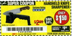 Harbor Freight Coupon HANDHELD KNIFE SHARPENER Lot No. 60361/62452 EXPIRES: 7/3/20 - $1.5